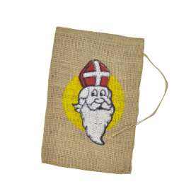 Jute zak met Sinterklaas opdruk 20 x 30 cm