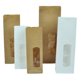Papieren blokbodemzakjes met venster (per 25 stuks)