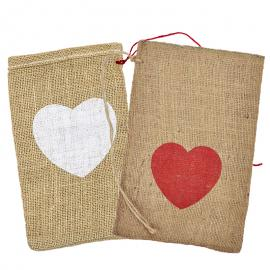 Jute zakken met hartje 15 x 25 cm (per stuk)