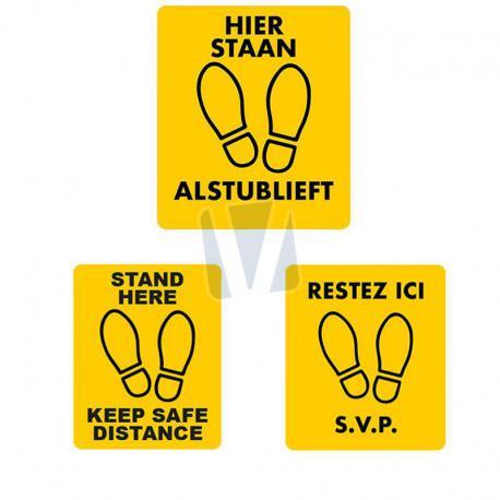 Vloersticker hier staan alstublieft (NL, EN & FR)