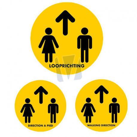 Vloersticker looprichting (NL, EN & FR)