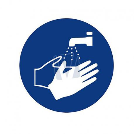 Pictogramsticker handen wassen blauw
