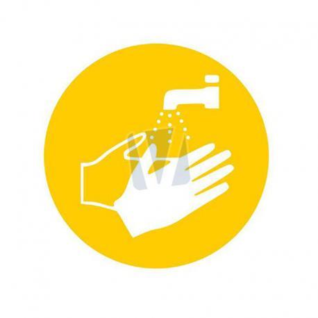 Pictogramsticker handen wassen geel