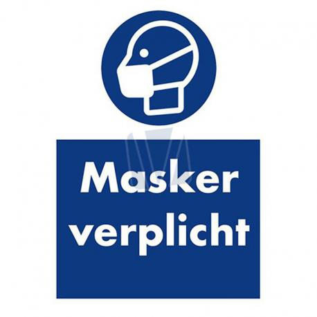 Instructiesticker masker verplicht blauw
