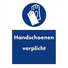Veiligheidssticker handschoenen verplicht