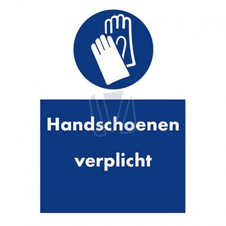 Veiligheidssticker handschoenen verplicht blauw
