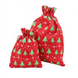 Non woven imitatiestof zakje Kerstboom groen