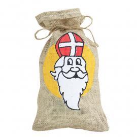 Jute zak met Sinterklaas opdruk 15 x 25 cm
